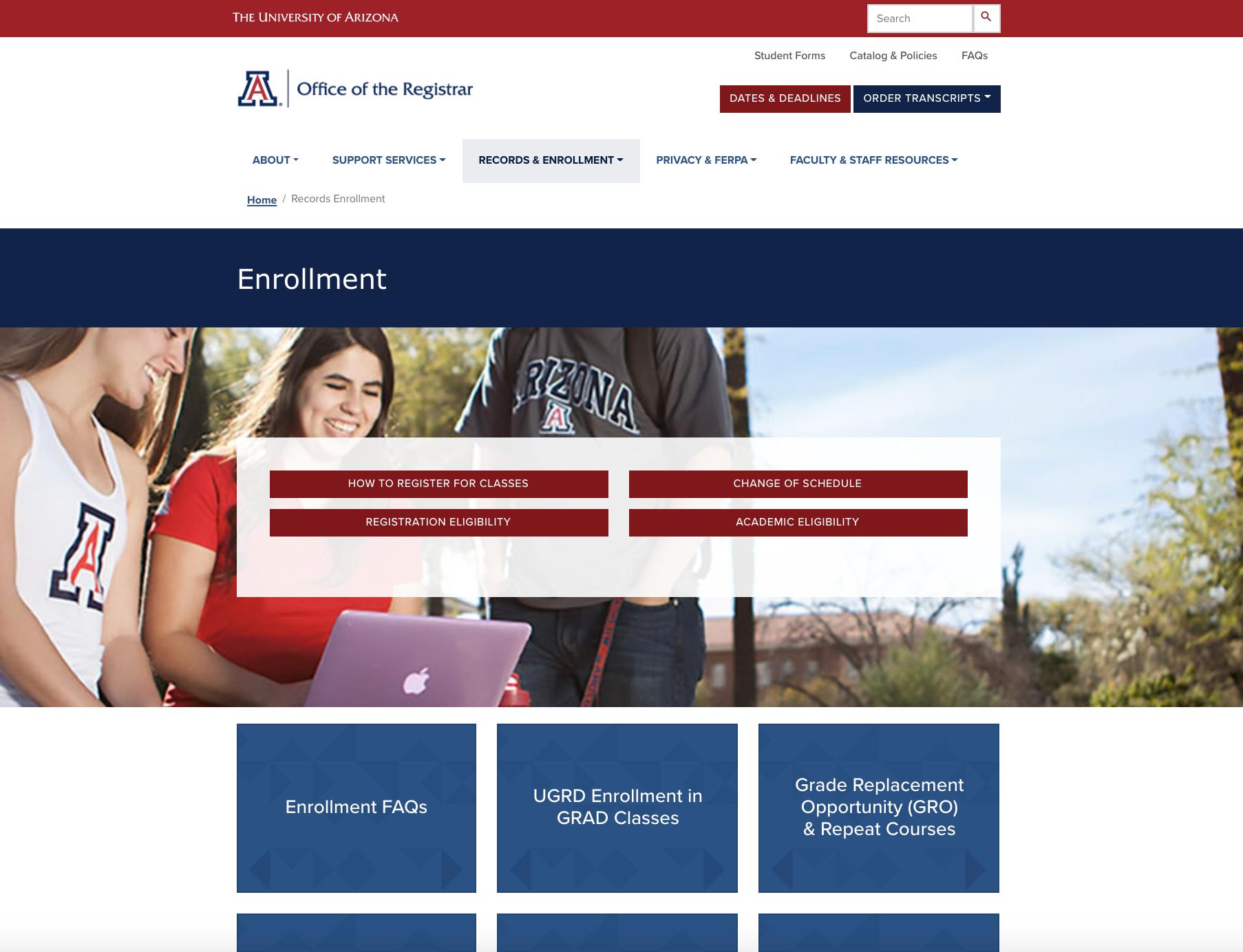 Screenshot of the new Registrar website