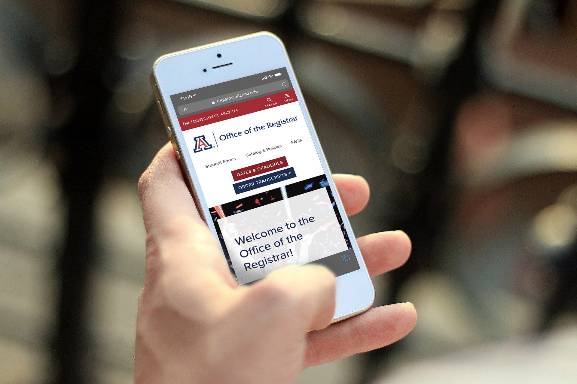 Mobile phone showing the Registrar website