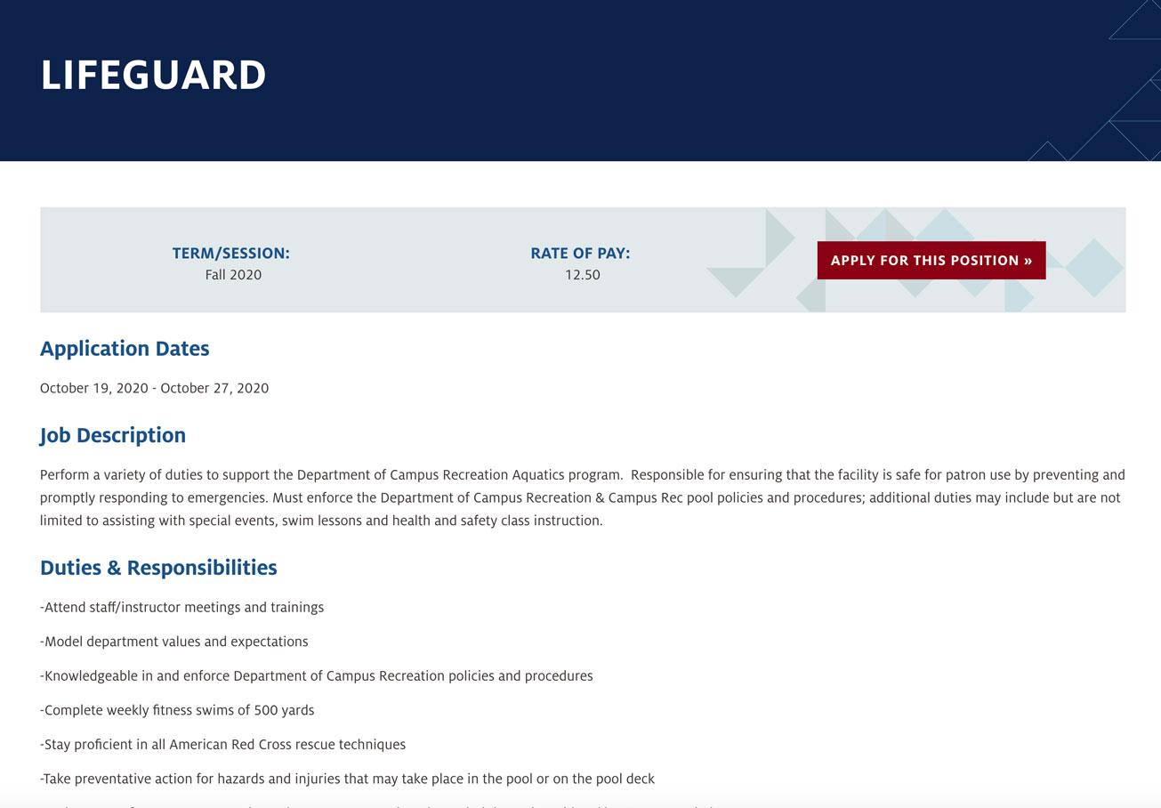 Screenshot of a Lifeguard job posting