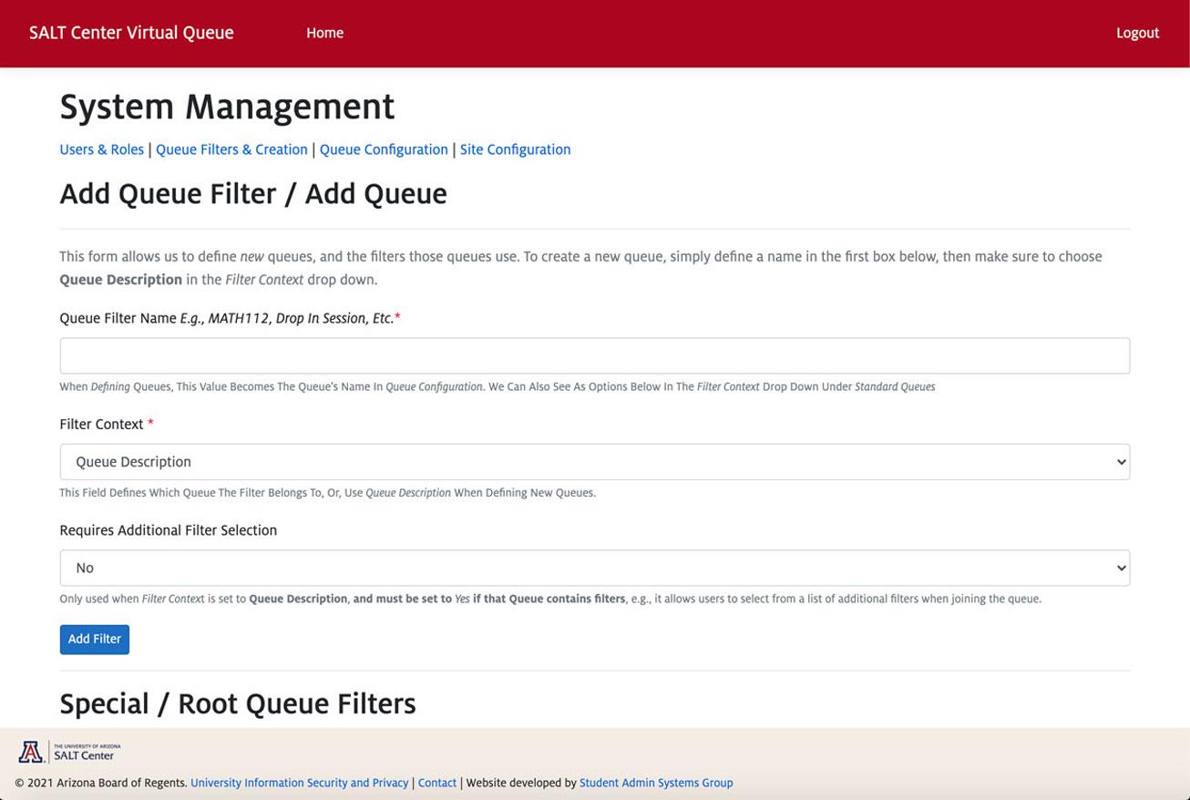 Screenshot of configurable queue filters