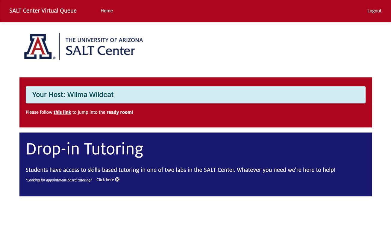 Screenshot of drop-in tutoring queue