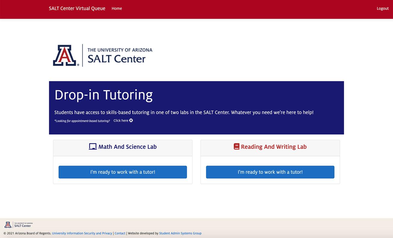 Screenshot of self service options: meth/science or reading/writing tutoring