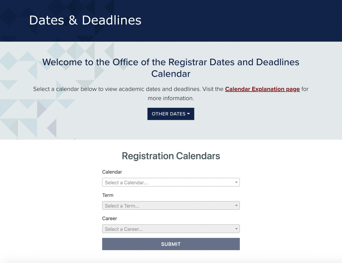 Screenshot of the Dates & Deadlines page on the Registrar's website