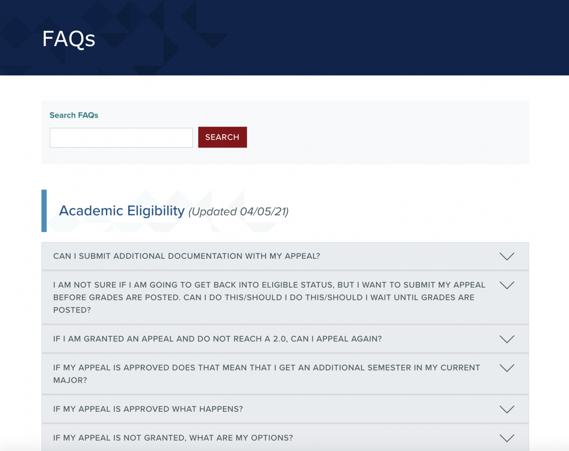 Screenshot of the FAQs page on the Registrar's website