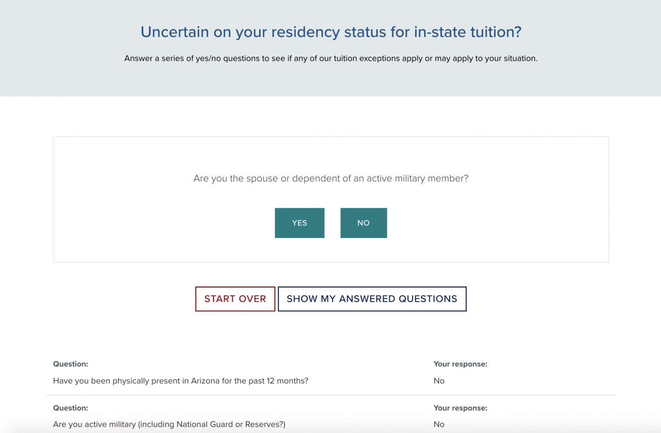 Screenshot of the Residency Classification decision tree page on the Registrar's website