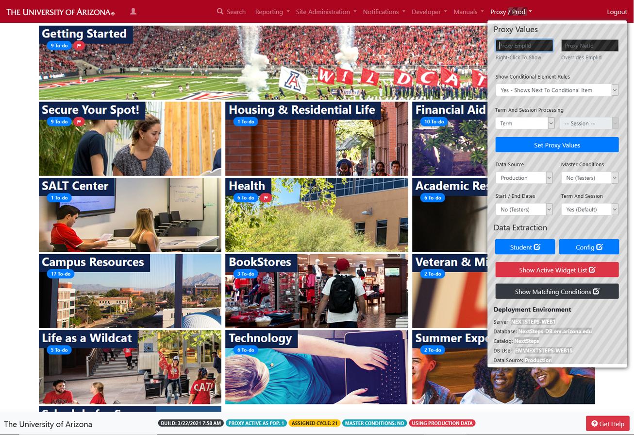Screenshot of Next Steps Center Proxy Access