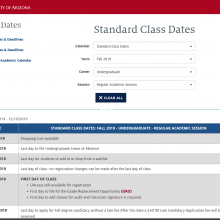Screenshot of the dates and deadlines interface