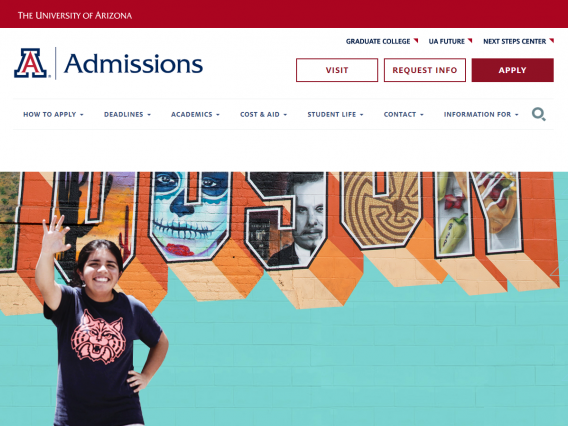 Screenshot of the Admissions website