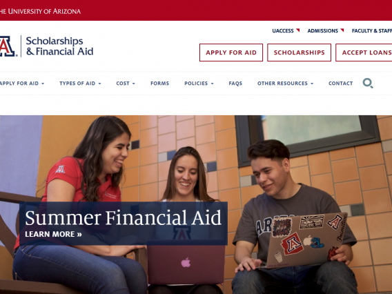 Screenshot of the Financial Aid website