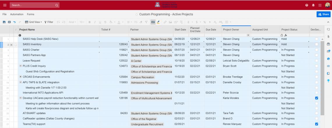 Screenshot of the Custom Programming team projects
