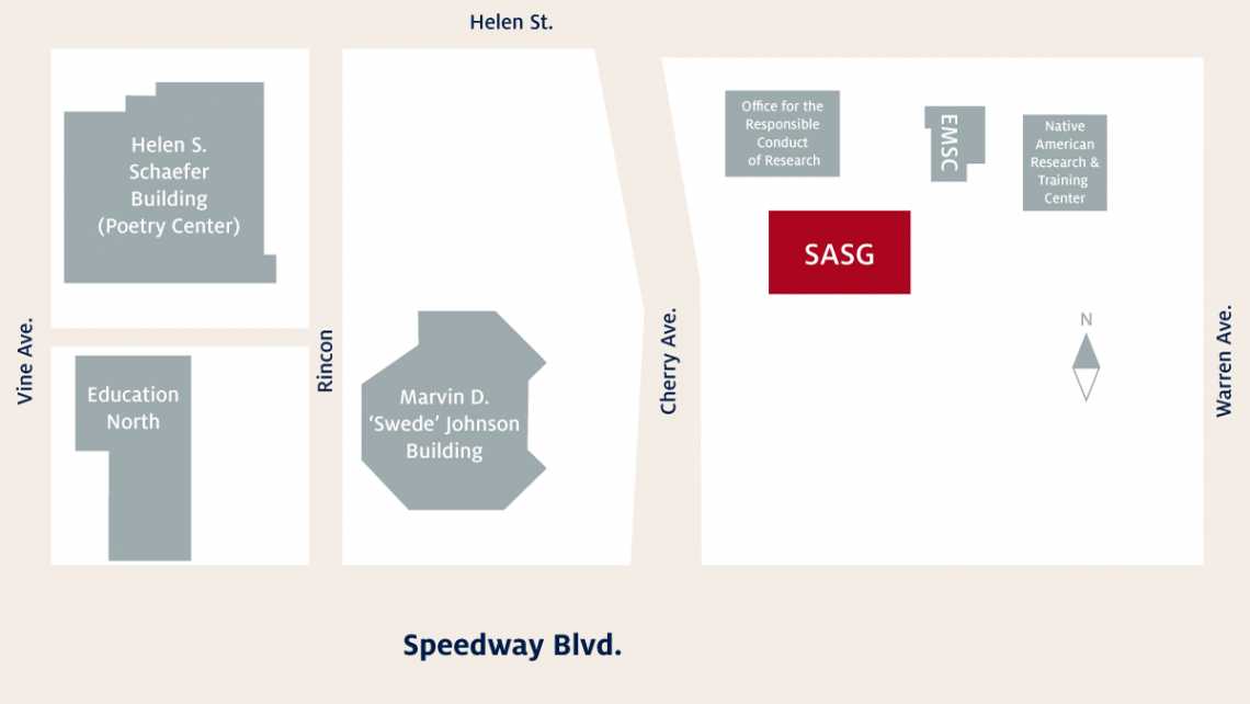 SASG is located on the northeast corner of Speedway and Cherry
