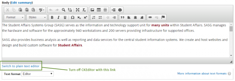 Editing text on your Drupal website | Student Admin Systems